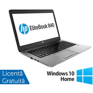 Laptop Refurbished Laptop HP ProBook 840 G1, Intel Core i5-4300U 1.90GHz , 8GB DDR3, 120GB SSD, 14 Inch, Webcam + Windows 10 Home