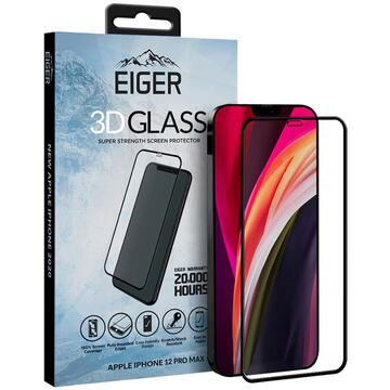 Husa Eiger Folie Sticla Curbata 3D iPhone 12 Pro Max Clear Black (0.33mm, 9H, oleophobic)