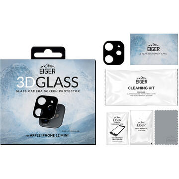Husa Eiger Folie Sticla Camera 3D Glass iPhone 12 Mini Clear Black (9H, 0.33mm)