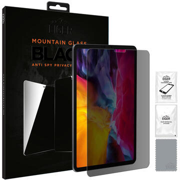 Husa Eiger Folie Sticla 2.5D Mountain Glass Privacy iPad Pro 11 inch (2018 & 2020) Black (0.33mm, 9H)
