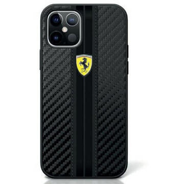 Husa Ferrari Husa On Track PU Carbon iPhone 12 / 12 Pro Negru