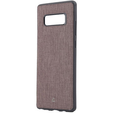Husa Occa Carcasa Linen Car Samsung Galaxy Note 8 Brown (margini flexibile, material textil, placuta metalica integrata)