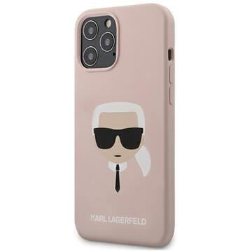 Husa Karl Lagerfeld Husa Silicon Karl's Head iPhone 12 Pro Max Roz Deschis