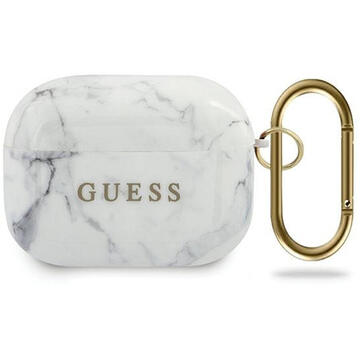 Guess Husa Marble Collection Airpods Pro Alb (cu breloc)