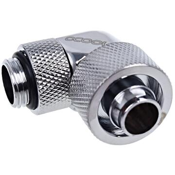 """Alphacool Eiszapfen 90° hose fitting 1/4"""" on 16/10mm, chrome-plated - 17237"""