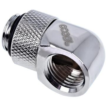 """Alphacool Eiszapfen 90° L-angle adapter short 1/4"""", chrome-plated - 17249"""