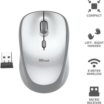 Mouse Trust YVI WIRELESS MOUSE WHITE