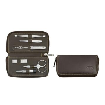 ZWILLING TWINOX Nappa leather case, zip fastener, brown, 6 pc.