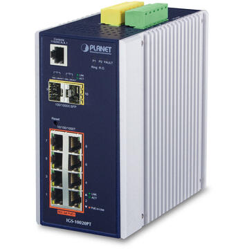 Switch PLANET IGS-10020PT network switch Managed L3 Gigabit Ethernet (10/100/1000) Power over Ethernet (PoE) Blue, White