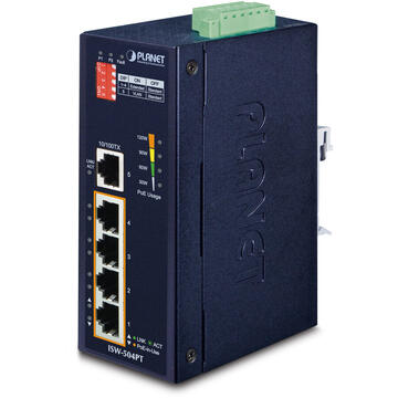Switch PLANET ISW-504PT network switch Unmanaged L2 Fast Ethernet (10/100) Power over Ethernet (PoE) Black