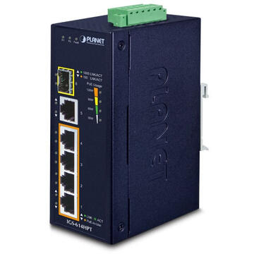 Switch PLANET IGS-614HPT network switch Unmanaged Gigabit Ethernet (10/100/1000) Power over Ethernet (PoE) Blue
