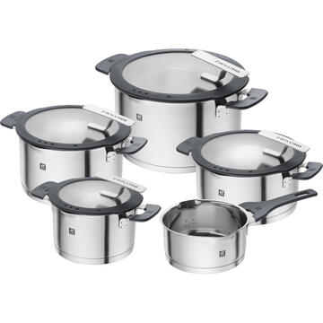 ZWILLING SIMPLIFY 66870-005-0 Pots set Stainless steel 5 pcs. Silver Black