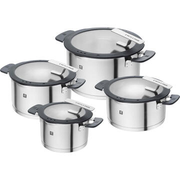 ZWILLING SIMPLIFY 66870-004-0 Pots set Stainless steel 4 pcs. Silver Black