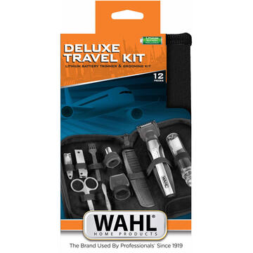 Aparat de tuns Wahl Travel Kit Deluxe Black, Stainless steel